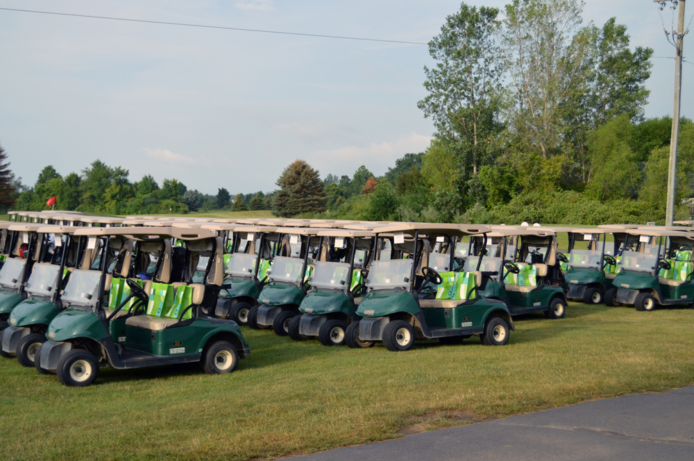 Golf Carts Lined Up Ready To Go